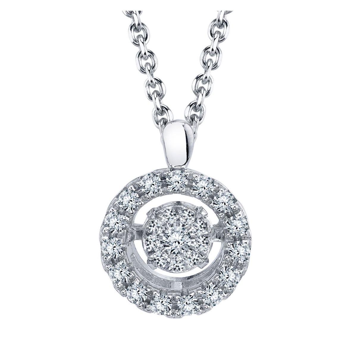 dbd599713a96 collar redondo de diamante en plata esterlina. Cargando zoom.