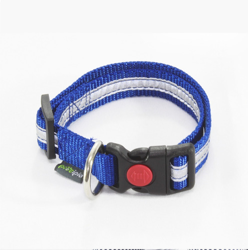 collar reflejante para perro azul - grande
