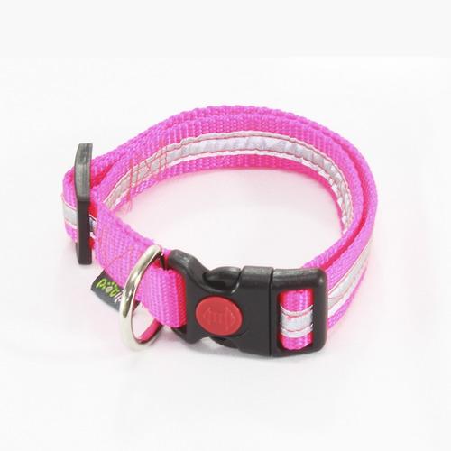 collar reflejante para perro rosa neón - mediano