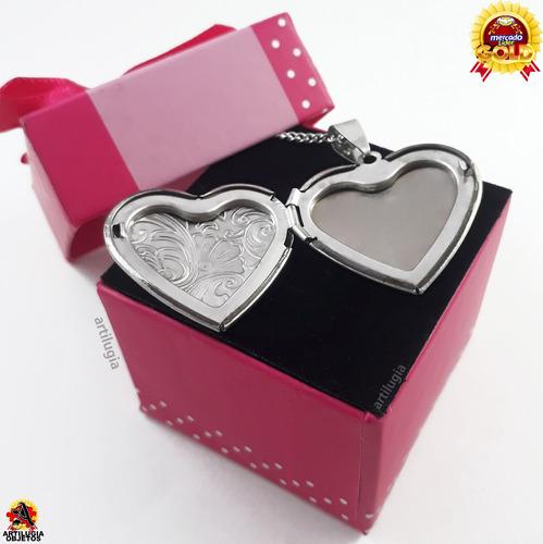 collar relicario corazon para foto cadena + estuche completo