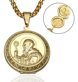 04cbd667e575 Collar Relicario Medalla San Benito Acero Inoxidable Hombre