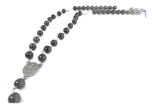 collar rosario habemus completo de piedra granate