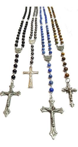 collar rosario habemus completo de piedra lapislázuli