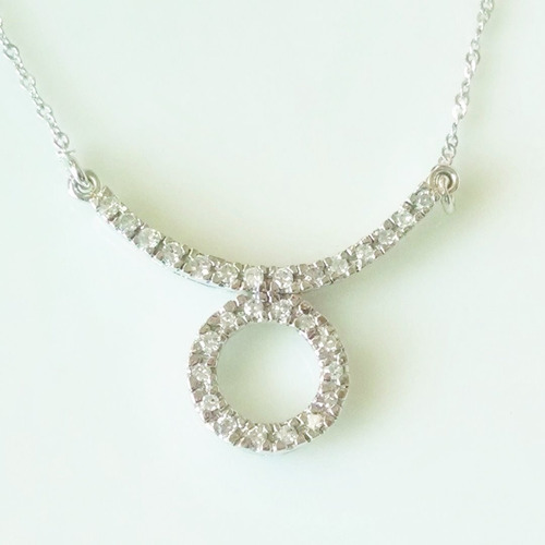 collar signo tauro con diamantes de 42cm en oro blanco 14k