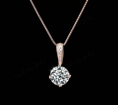 collar solitario swarovski elements gama oro 18kgp regalo