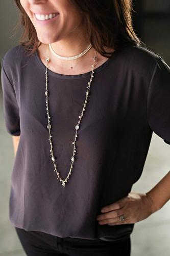 collar susanne perlado cristal colgar acollador (dorado)