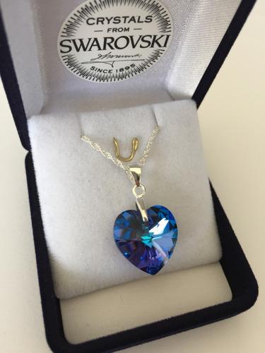 collar swarovski elements corazón 14mm cadena plata