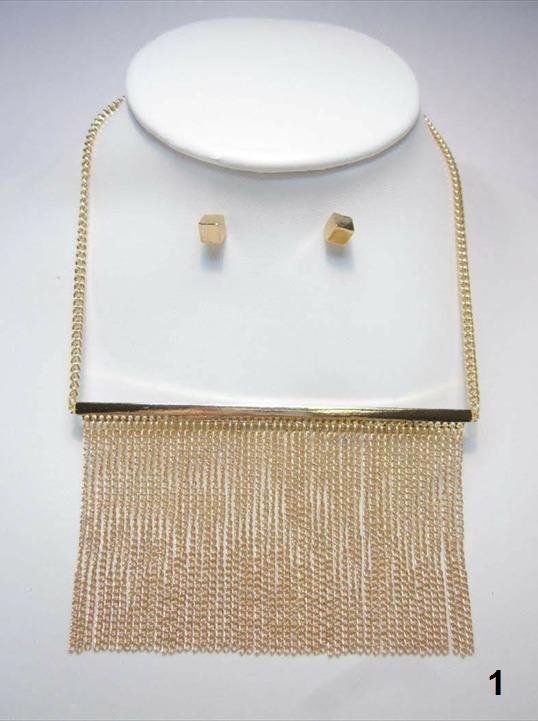 5f5212f8091c Collar Tassel Metálico Dorado Plateado Largo Bisutería Fina ...