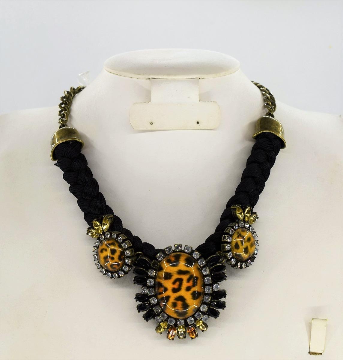 9748231bdb68 Collar Tela Trensada Con Piedras Bisutería Moda Importada -   399.00 ...
