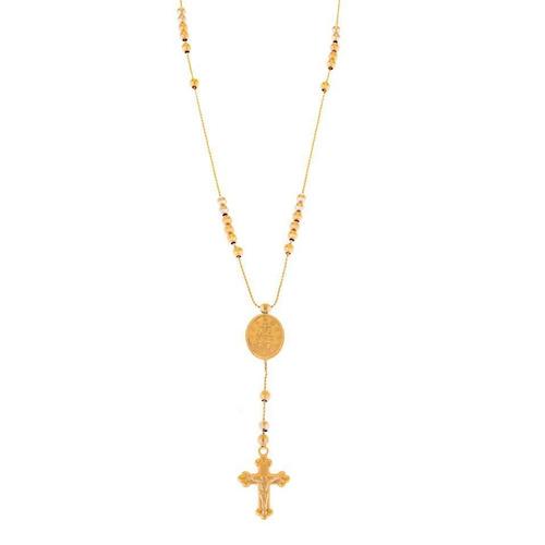 collar tipo rosario oro tres tonos.