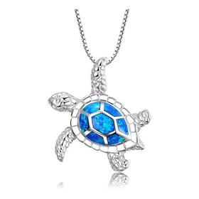 Collar Tortuga Ópalo Azul Plata 925 Regalo Exclusivo N-329