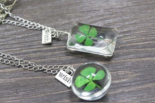 collar trébol de 4 hojas natural amuleto buena suerte