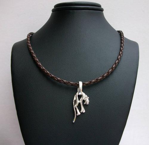 collar trenzado con dije de puma felino en plata ley .925