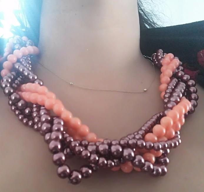 Collar trenzado con perla cadena en ba o de plata moda for Bano de plata precio