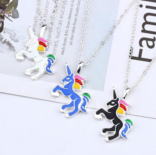 collar unicornio arcoiris mujer regalo dije amor sueño 460gs