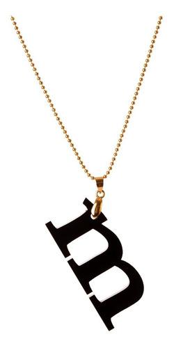 collar van grieken  letra m acrilico. baño de oro 18k.
