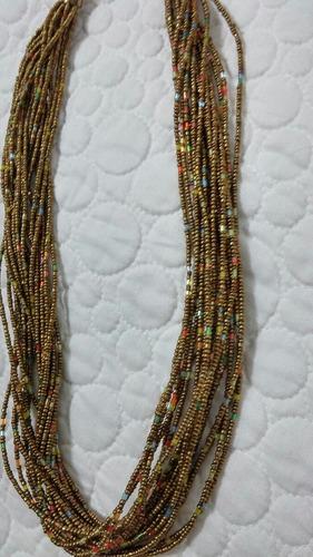 collar verde dorado piedras mostacillas abundantes fiesta