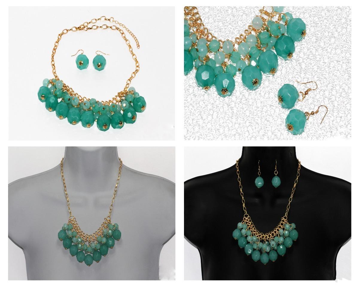 fac45e8c605d collar verde turquesa y dorado aretes fiesta joyeria cc18. Cargando zoom.
