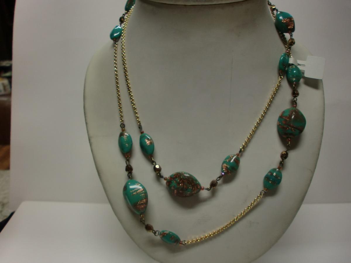 4a7092e3e098 collar vintage cadena dorada muranos ovales verdes y dorado. Cargando zoom.