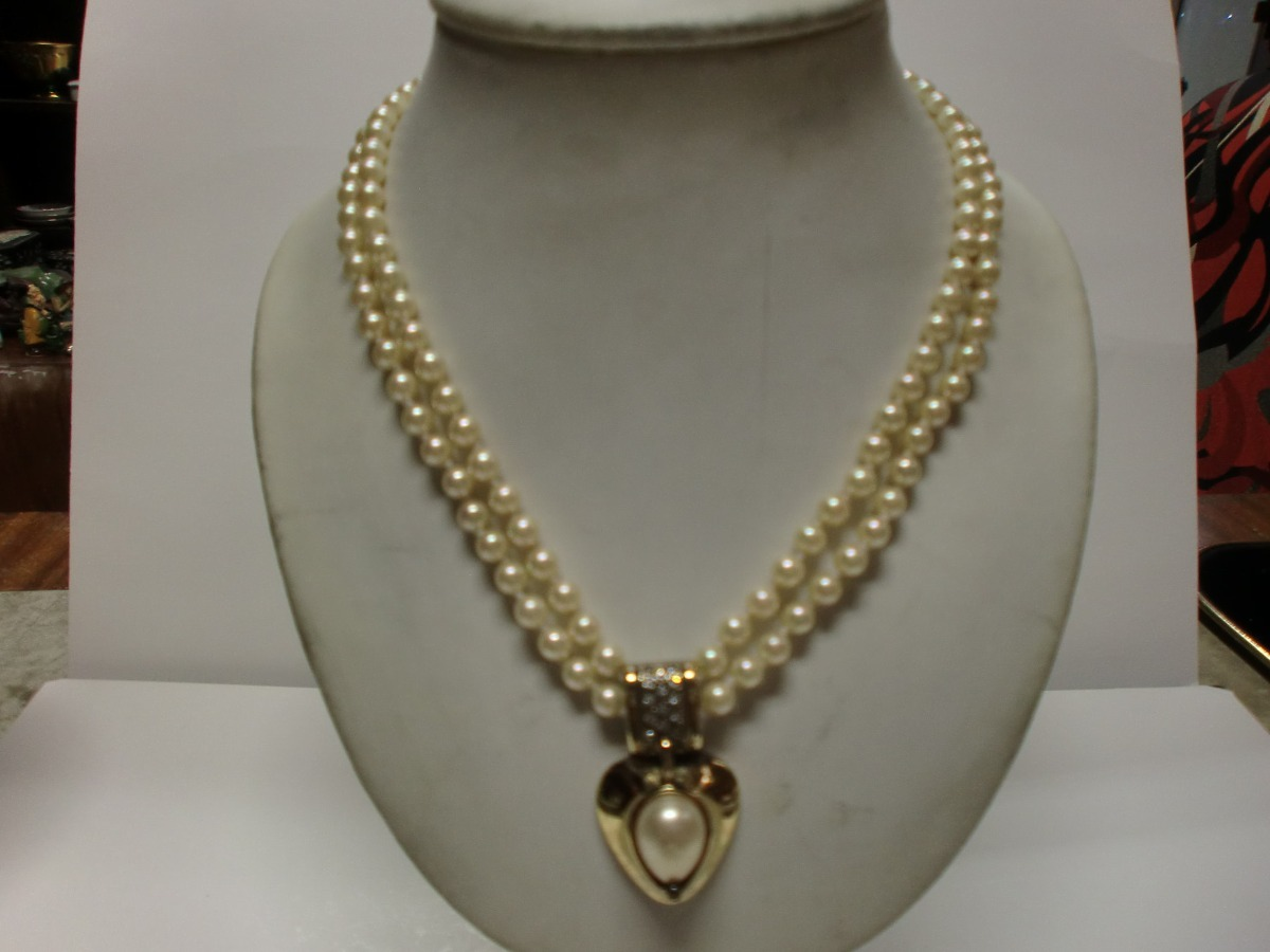 f03ae6f8bde0 Collar Vintage - Perlas Con Importante Centro - Pl.francesa ...