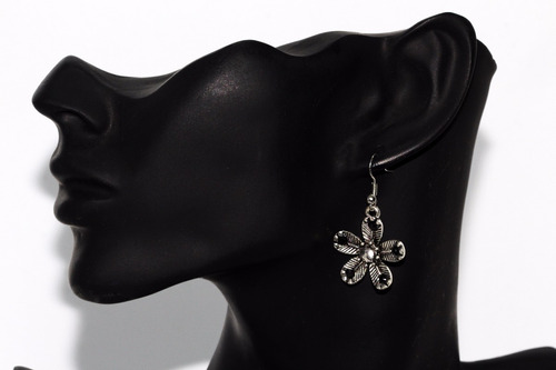 collar vintage plata aretes flores cristales elegante ce268