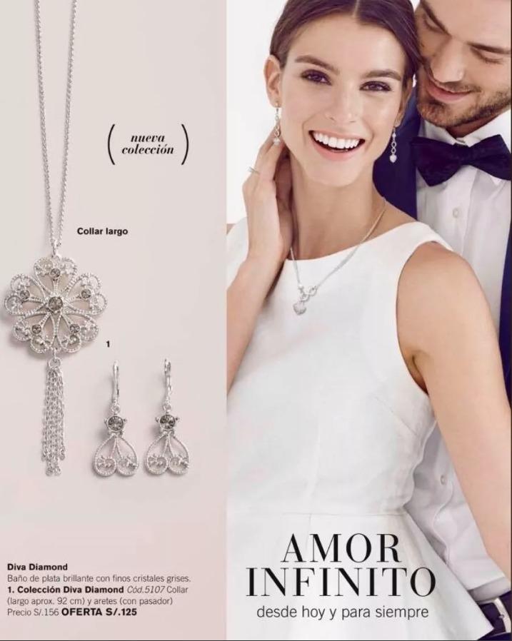 5c7863f51523 Collar Y Aretes Bañado En Plata- Colección Diva Diamont 75 - S  75 ...