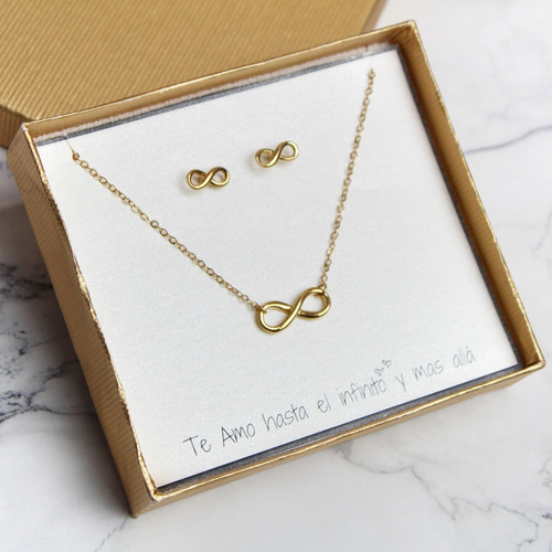 collar y aretes de infinito regalo para pareja aniversario