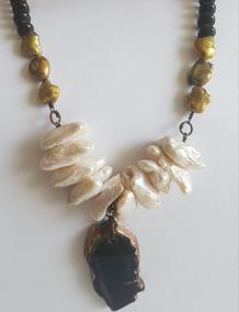 61d73db4a836 Collar Y Aretes De Perlas Barrocas Y Piedras Naturales