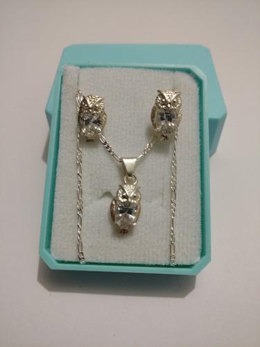 collar y aretes de plata original de buho cristal swarovski