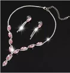 collar y aretes elaborado cristal swarov element rosa regalo