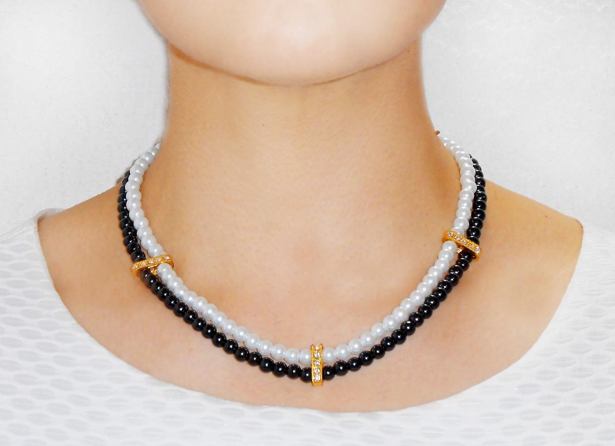 collar y aretes perla negra y blanca con puentes dorados