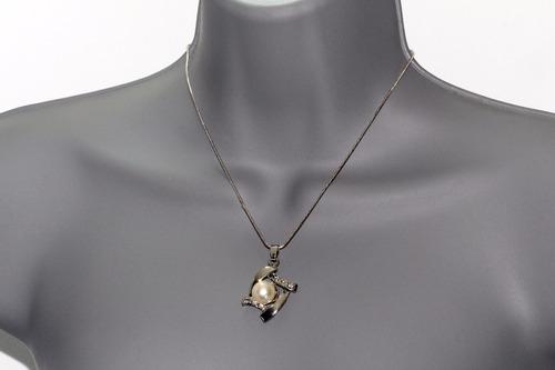 collar y aretes perlas y cristales  vintage ce276