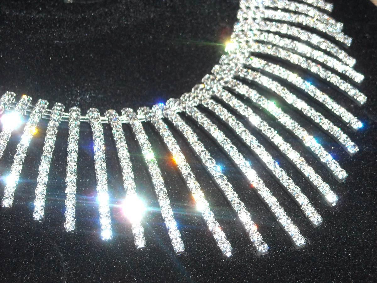128a570009ed collar y aros de fiesta con strass modelo fringe. Cargando zoom.