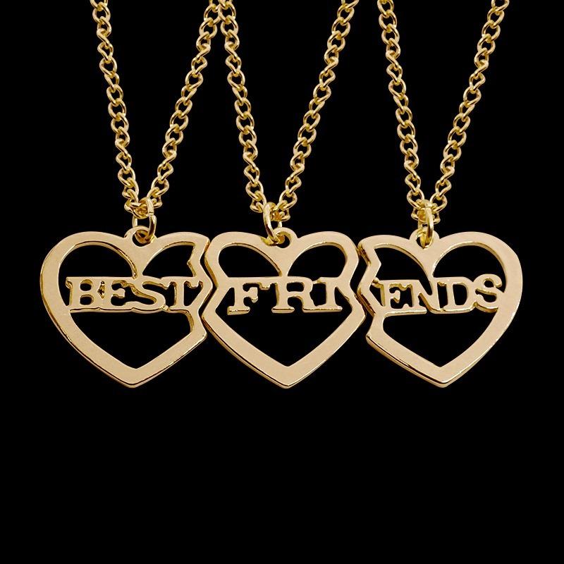 Collar Y Dije Best Friends 3 Tres Mejores Amigas Corazón 17000