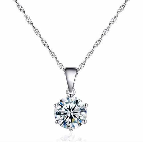 collar y dije de plata .925 zirconia cristalina joyería dama