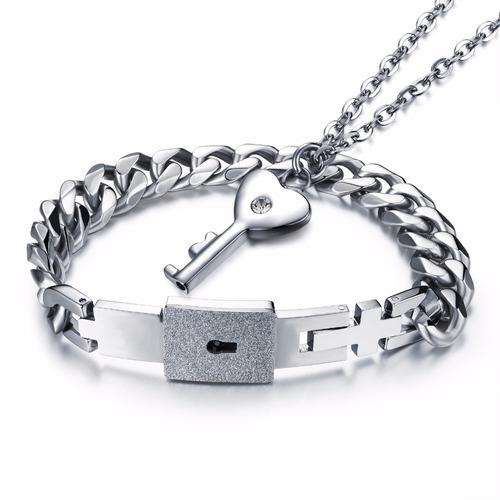 collar y esclava pulsera pareja- acero-amor-regalo