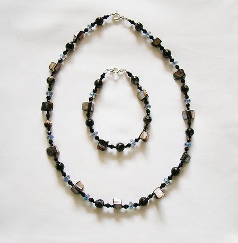 collar y pulsera de piedras y plata 925 excelente calidad