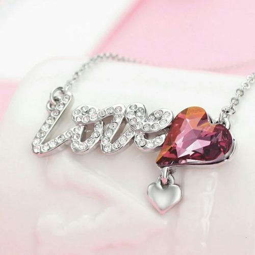 collar y pulsera del amor y cristales swarovski para regalo