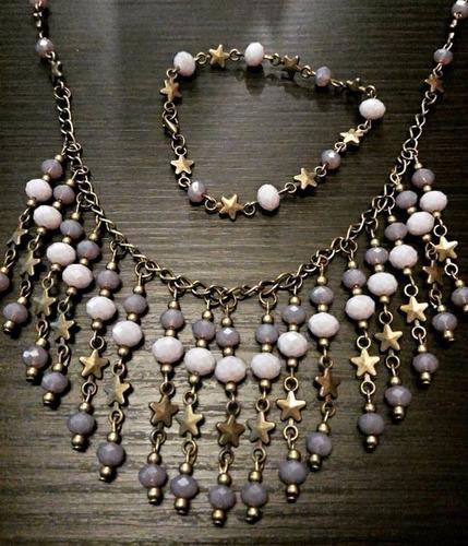 collar y pulsera fabricado con cristal violeta