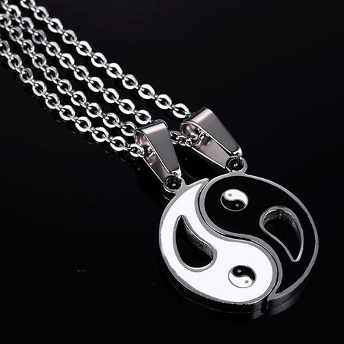 collar yin yang acero inoxidable novios pareja envío gratis