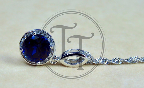 collar zafiro 2.93 ct plata esterlina 925, zirconia 1.0 ct