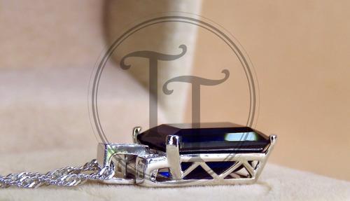 collar zafiro 9.4 ct en plata esterlina 925