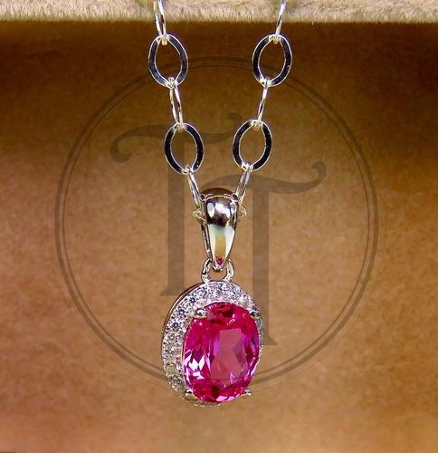 collar zafiro rosa 1.87 ct en plata esterlina 925