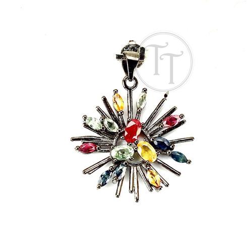 collar zafiros naturales 9.0 ct plata esterlina 925 pavonada