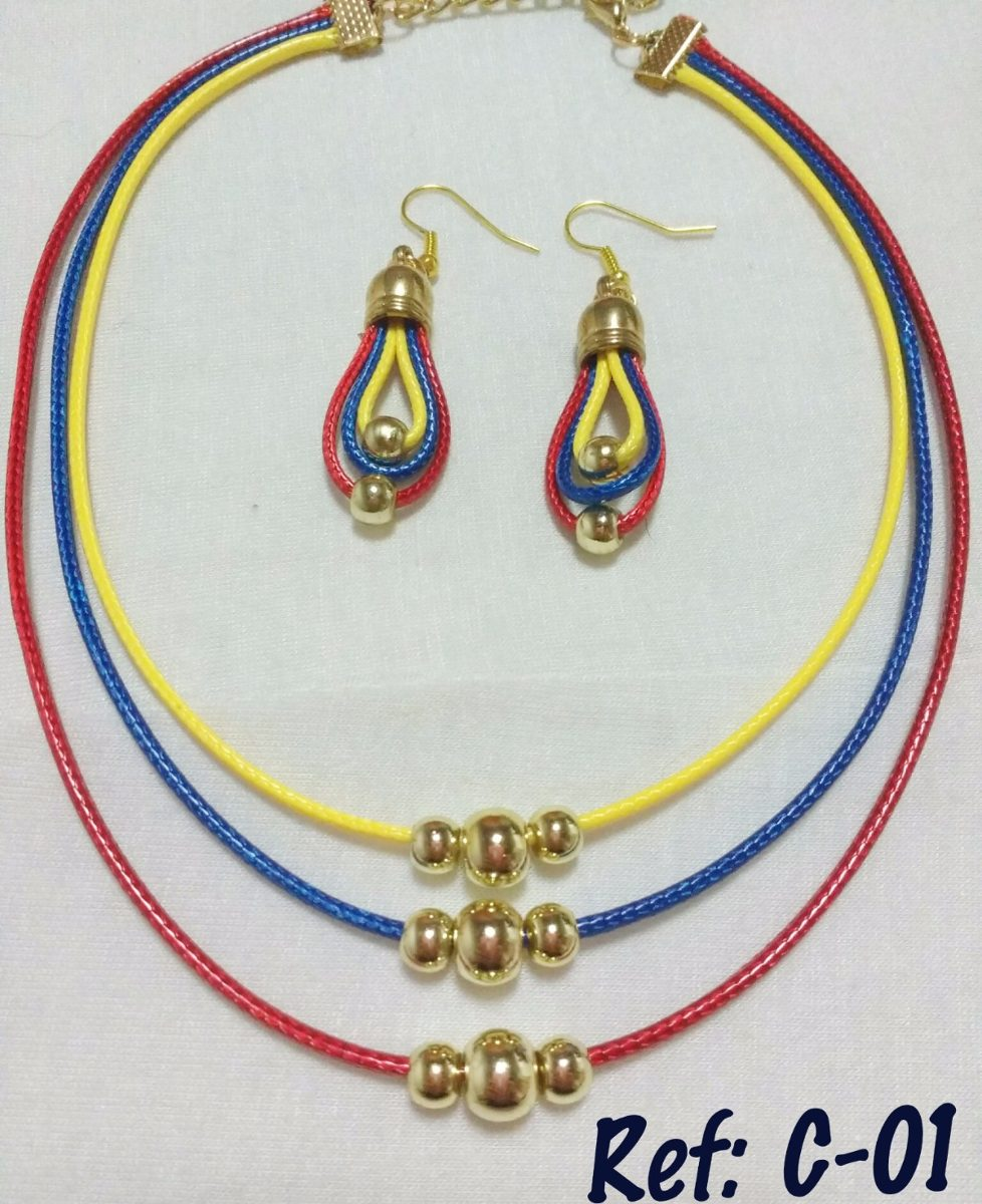 4e2f85b0f544 collar zarcillos dama. collares venezuela tricolor. Cargando zoom.