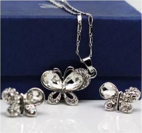collar,aretes y pulsera mariposa cristal swarov element!!!