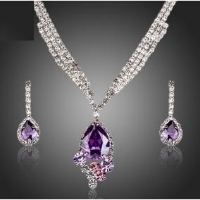 fcc61bbcda0c Bello Set Lujoso Cristal Austriaco Collar Y Aretes 24kgp