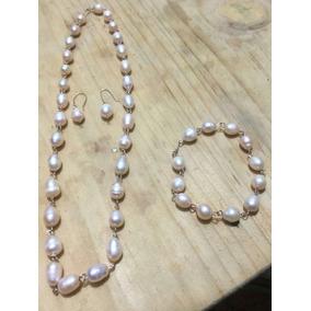5b481f7bc9d9 Hermoso Collar De Perlas Color Melon - Collares y Cadenas en Mercado ...