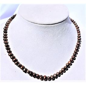 608fa2578e79 Collar De Perla 4-5mm Agua Dulce Color Cafe 50% Descuento