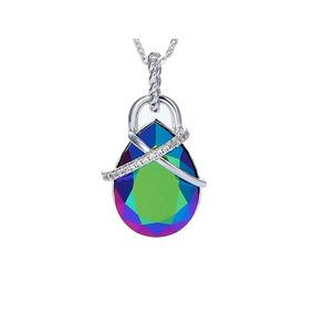e2c7e818a5a1 Collar Dije Verde Swarovski Elements Gota Envio Gratis